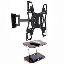 """Swivel Tilt TV Wall Bracket 22 - 50"""" with Double Glass DVD AV Shelf VESA 400x400"""