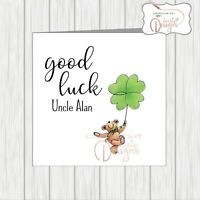 Personalised Wishing You Good Luck Card Bear Holds Shamrock 4 Four Leaf Clover