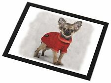 Chihuahua in Dress Black Rim Glass Placemat Animal Table Gift, AD-CH5GP