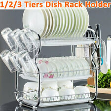 2/3 Tier Dish Drying Rack Large Kitchen Drainer Stainless Steel Shelf Holder US