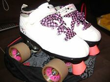 PACER-GTX 500-QUAD- ROLLERSKATES-SIZE 3- WITH WEASEL WHEELS/ LACES & FREE BAG!