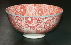 Ooh La La! by BIA Bowl Ceramic Paisley Design Red