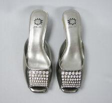Yellow Box Savvy Light Pewter Open Toe Rhinestone Sandals Womens Size 7.5 M