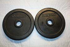 Rare: 2, Ivanko, 5 pound Rubber coated standard weight plates, Lbs plate