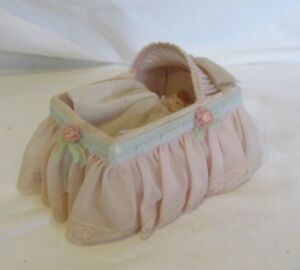 Vintage 1940s Baby Doll Bassinet w/baby and pillow. Cardboard/Chiffon