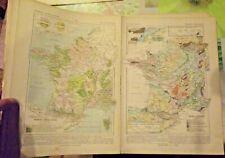 1900 Original Vintage Map Vidal-Lablache Géologique et Agricole de la France