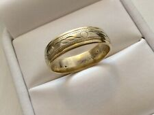 Super Quality Vintage Solid Two Colour 9CT Gold Band Ring - Size O 1/2