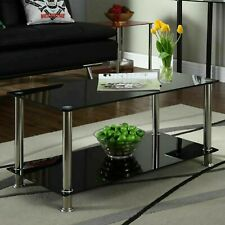 Rectangle Glass Coffee Table Modern Living Room Furniture Top Lower Shelf Chrome