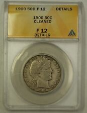 1900 US Barber Silver Half Dollar 50c Coin ANACS F-12 Details Cleaned
