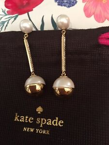 GORGEOUS Kate Spade NY Bits and Baubles pearl pave linear drop earrings RARE