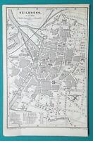 """1887 MAP BAEDEKER - Germany Heilbronn Town Plan 4 x 6"""" (10 x 15,5 cm)"""