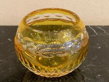 Vintage Signed FABERGE Yellow/Amber Color Glass Votive Candle Holder