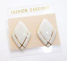 Enamel Style Pierced Earrings . #266 Gold Tone & Off White / Cream