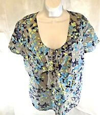 Chadwicks  Women Size XL Short Sleeve Shirt Stretch Multi-color Top Swoop Neck R
