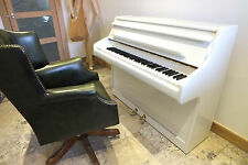 Small WHITE GLOSS Compact Upright Piano British Made Fully Restored