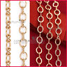 18K GOLD GF BELCHER CHAIN RING LINK SOLID WOMEN GIRLS CHARM NECKLACE for Pendant