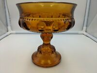 Vintage Indiana Glass Amber King's Crown Thumbprint Footed Compote
