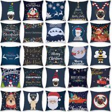 Blue Christmas Pillow Short Plush Waist Cushion Cover Home Sofa Throw Decor Gift