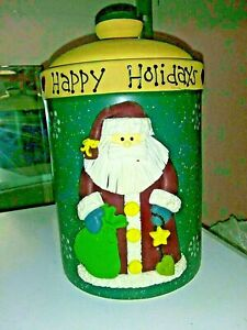 Happy Holidays Decorative Cookie Jar with Santa Figure (3D) on side - Christmas