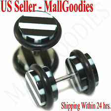 Black & White Stripes Parttern 0G 8mm 1270 Fake Cheater Illusion Faux Ear Plugs