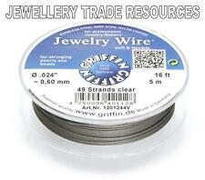 """GRIFFIN NYLON COATED STEEL BEADING & PEARL WIRE .024"""" / 0.60mm 16 FT. 49 STRAND"""