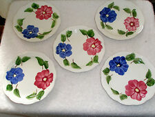 "Vintage Set 5 Heritage Ware Stetson 6""  Plates Floral Hand Painted  Underglaze"