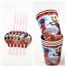 20 pcs ladybug cup & straw birthday Decoration Party Supplies.