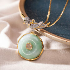 F02 Pendant with Necklace Bird on round Green Jade Silver 925 Gold Plated