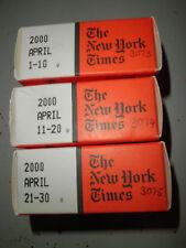 April 2000 New York Times on MICROFILM - 3 reels of film