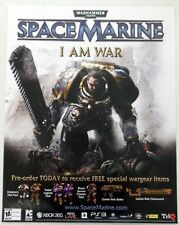 2011 WARHAMMER 40K  SPACE MARINE *I AM WAR* 22 x 28 Promo Poster XBOX PS3 PC