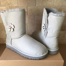 UGG Bailey Button Poppy Grey Violet Suede Sheepskin Short Boots Size 12 Womens
