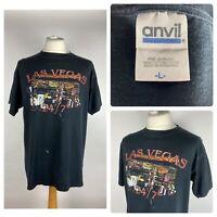 ANVIL Mens Black Las Vegas 24/7 USA Graphic Print T Shirt Top / Large / VTG 90s
