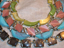 Vtg 4 THERMOSET PLASTIC NECKLACE Lot Signed CORO Chocolate Swirl MOONGLOW Avocad