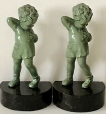 Antique 1920's Green Patina Metal Little Girl w/Suspender Shorts Bookends *RARE*