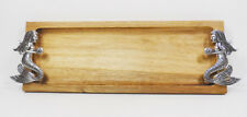 """Acacia Wood Serving or Cheese Tray with Zinc Mermaid Accents 17"""""""