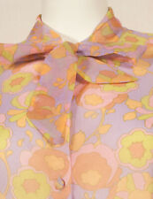 60'S FRENCH VINTAGE PRINT SHIRT WITH TIE UK 16