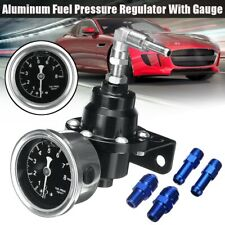 Black Universal Adjustable Aluminum Fuel Pressure Regulator W/Gauge Kit Auto Car