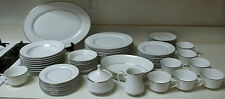 Mikasa Westminster 59 Piece Set White with Silver Trim Plates Bowls Cups