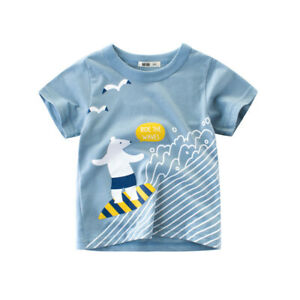 T-Shirt Boys Short Sleeves Tee Girls Collarless Top 100% Cotton Bear Waves ^