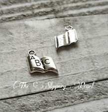 ABC Charms Pendants Antiqued Silver Book Charms Kindergarten Charms 10 pieces