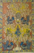 "Tree of Life with Peacocks Rare Home Decor Kalamkari Painting 22"" x 36"" Inches"