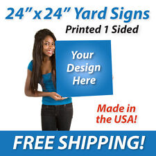 """25x - 24"""" x 24"""" Full Color Yard Signs Printed 1 Sided Free Design Free Shipping"""