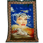Tapestry Wall Hanging Girl with Unicorns Sunset Water Throw Vintage New