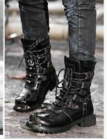 Men's Punk  Lace up Round Toe Mid Calf Motorcycle Boots Casual Military Shoes