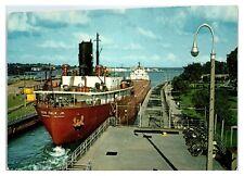 Leon Falk Jr. Lake Freighter at Soo Locks, Mi Postcard *5F24
