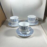 Set of 3 Martha Stewart Blue GARDEN TRELLIS Cups and Saucers