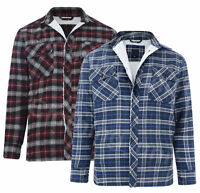 Mens Padded Quilted Fur Lined Lumberjack Check Flannel Work Shirt Jacket M-8XL