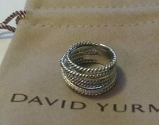 David Yurman Sterling Silver 11mm Crossover Wide Ring With Diamond Ring Size 5.5