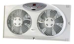 Bionaire Reversible Airflow Twin Window Fan w/ Remote & Digital Thermostat