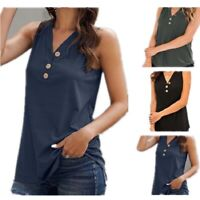 Women Summer Casual Sleeveless T Shirt V Neck Solid Tank Top Loose Blouse Tunic